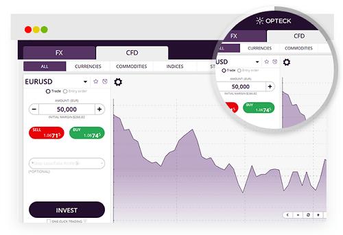 Interfaz de la plataforma de Opteck
