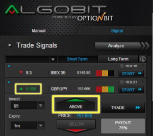 Imagen de la interfaz de Algobit de Optionbit