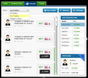 Plataforma del servicio de trading social de BelforFX