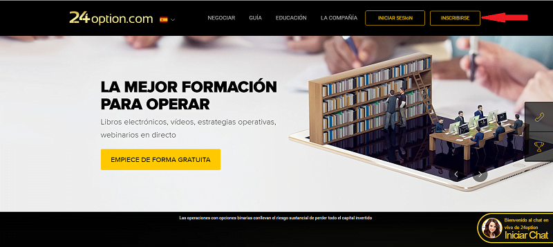 Acceso al formulario de registro de 24Option