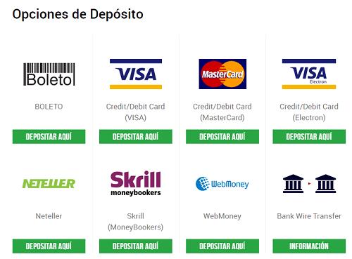 opciones para depositar fondos