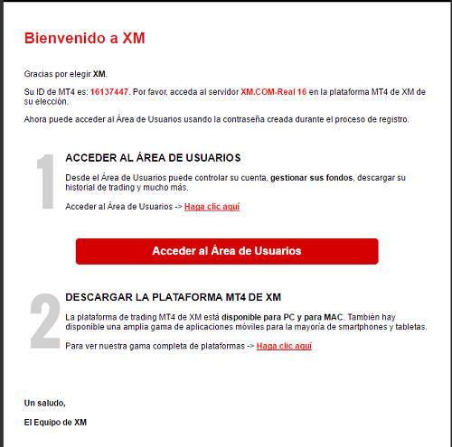 Mensaje de confirmación-cuenta XM