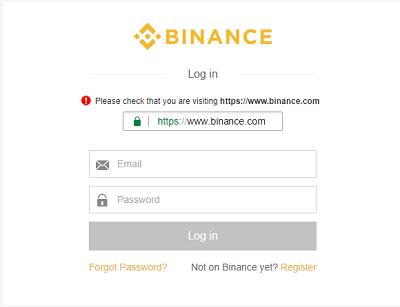 login plataforma Binance