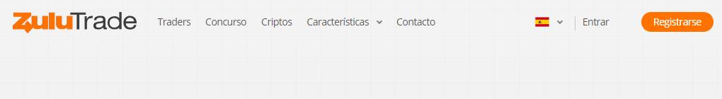 menu de registro de Zulutrade