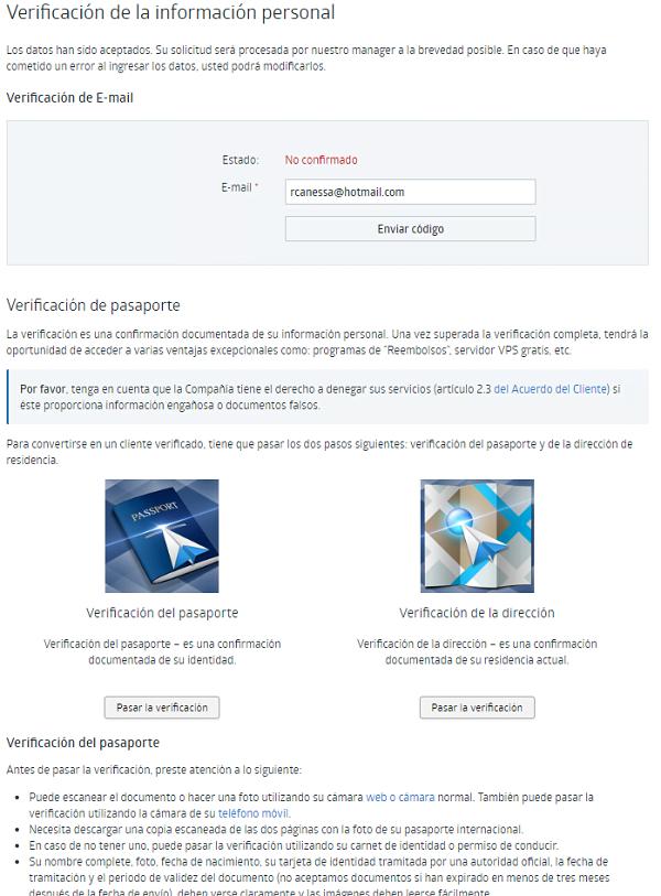 verificación cuenta RoboForex