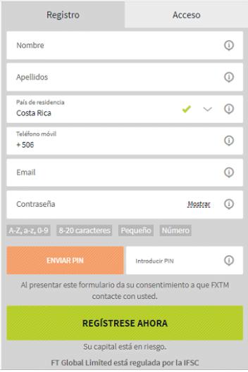 formulario de registro de FXTM