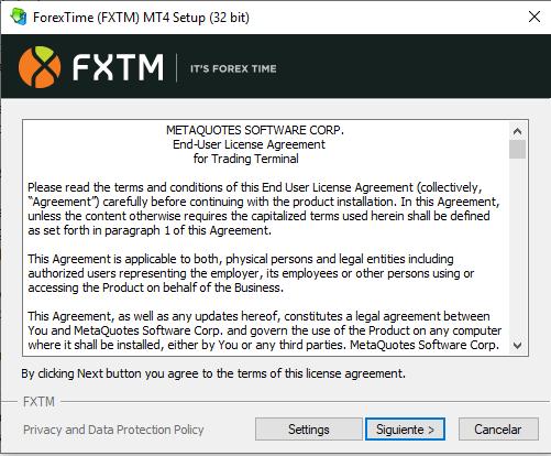 instalacion de MT4 en FXTM