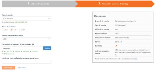 Personalizar cuenta de FXTM