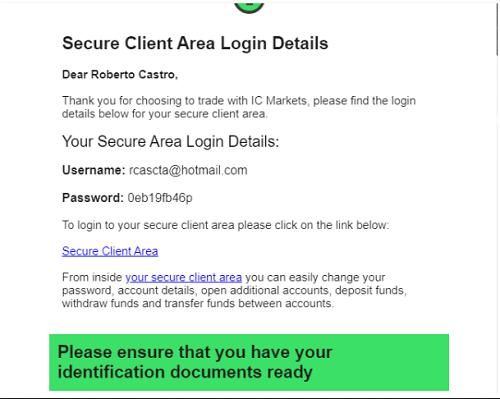 Datos de acceso a la cuenta de ICMarkets