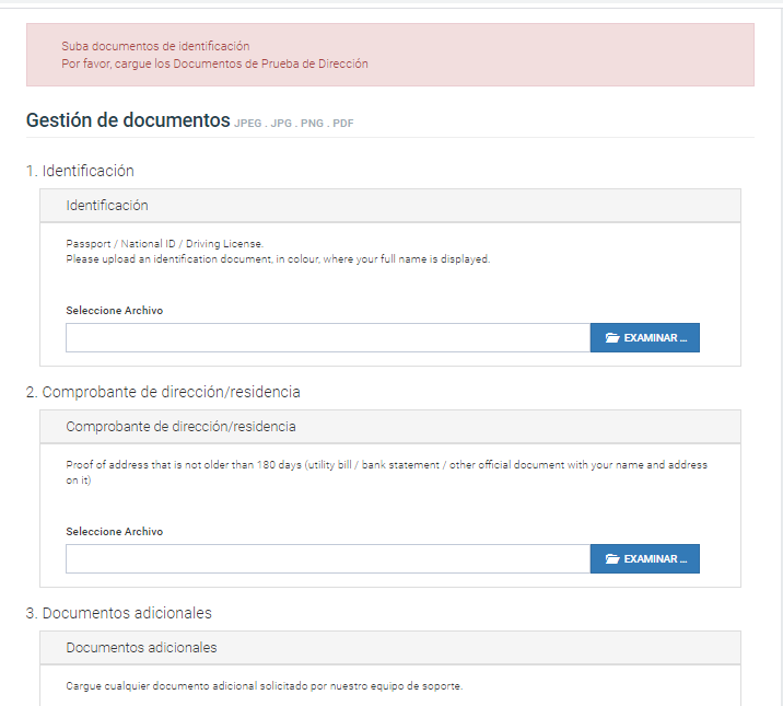 verificación de documentos en Tickmill