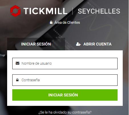 Formulario de acceso de Tickmill
