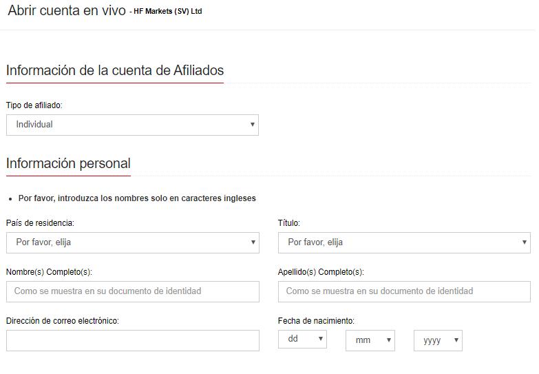 formulario de registro de HotForex