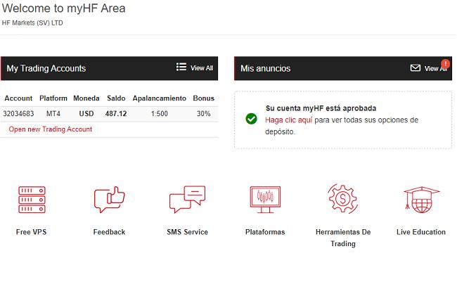 área de usuarios verificada de HotForex