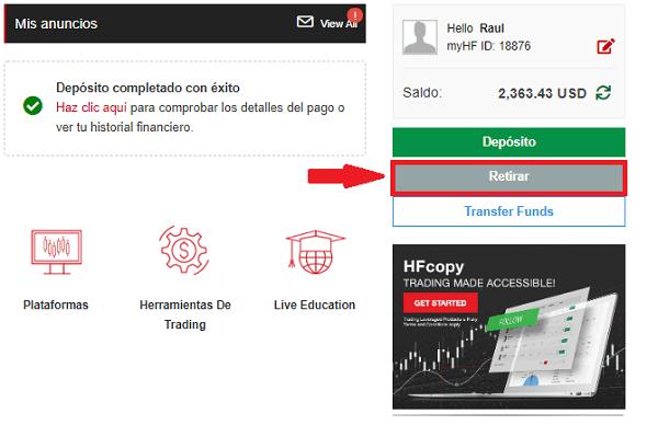 retiro de fondos en HotForex
