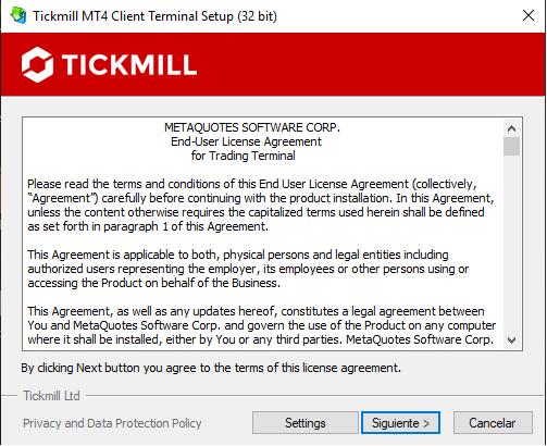 Terminal Metatrader 4 de Tickmill