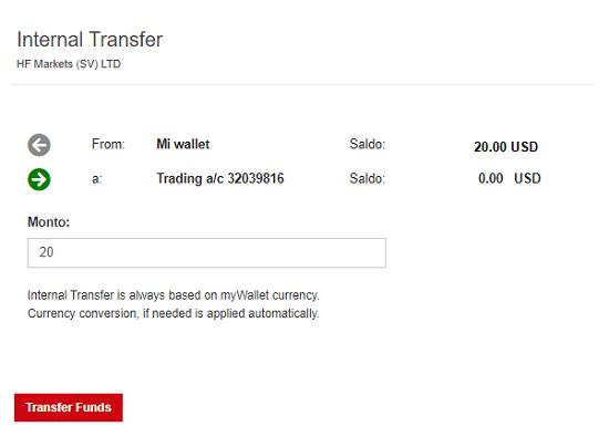 Transferencia interna de cuentas de HotForex