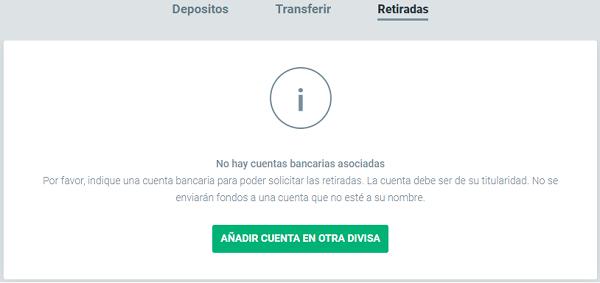 Agregar cuenta bancaria en XTB