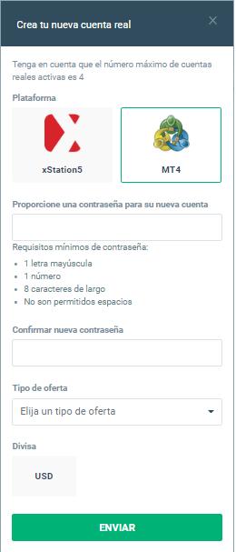Cuenta MT4 abierta XTB