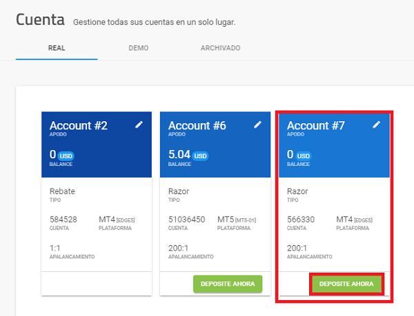 Depósito de fondos en una cuenta real