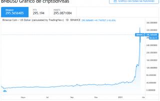 Gráfico diario del par BNB/USD